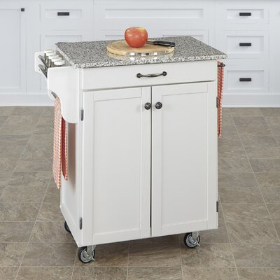 Savorey Kitchen Cart with Granite Top Base Finish: White
