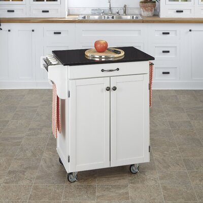 Savorey Granite Top Kitchen Cart Base Finish: White