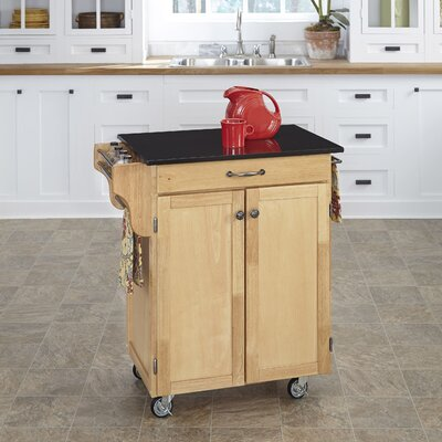 Savorey Granite Top Kitchen Cart Base Finish: Natural