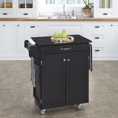 Savorey Granite Top Kitchen Cart Base Finish: Black