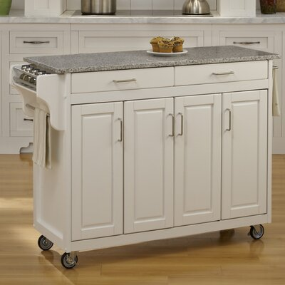 Regiene Kitchen Island with Granite Top Base Finish: White