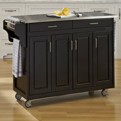 Regiene Kitchen Island with Stainless Steel Top Base Finish: Black