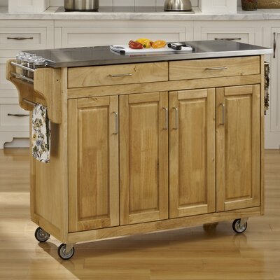 Regiene Kitchen Island with Stainless Steel Top Base Finish: Natural