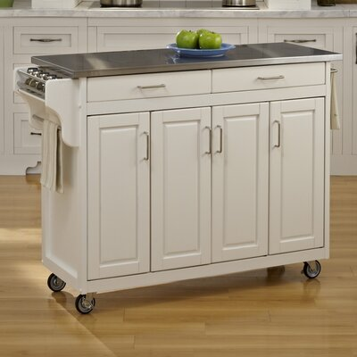 Regiene Kitchen Island with Stainless Steel Top Base Finish: White