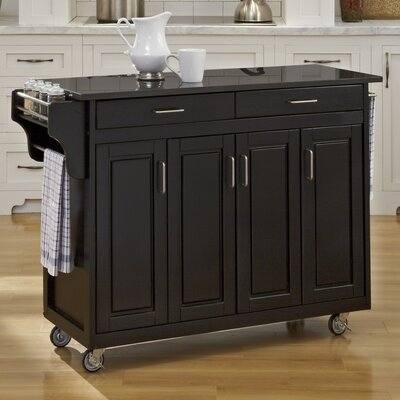 Regiene Kitchen Island with Granite Top Base Finish: Black