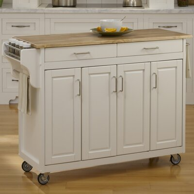 Regiene Kitchen Island with Natural Wood Base Finish: Off-White
