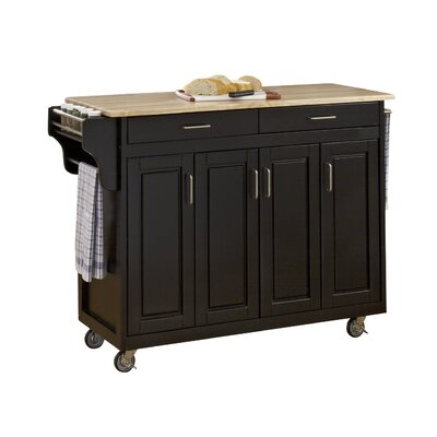 Regiene Kitchen Island with Natural Wood Base Finish: Black