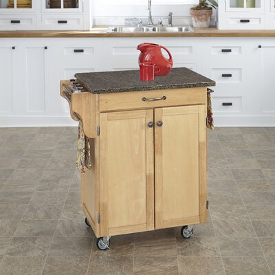 Savorey Kitchen Cart with Quartz Top Base Finish: Natural