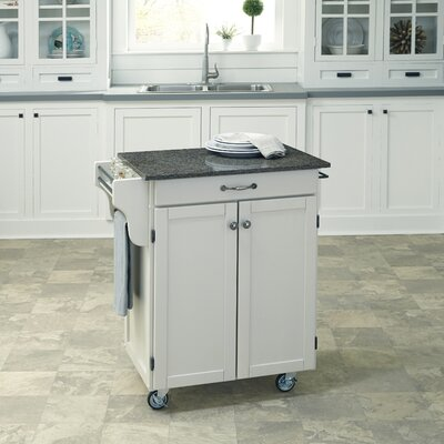 Savorey Kitchen Cart with Quartz Top Base Finish: White