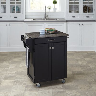 Savorey Kitchen Cart with Quartz Top Base Finish: Black