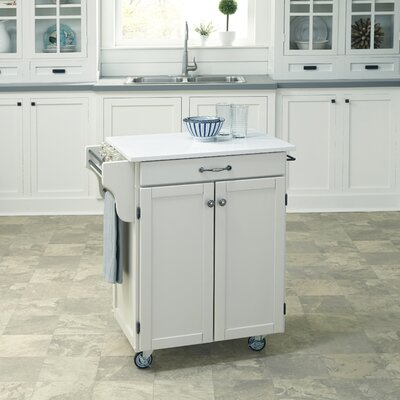 Savorey Kitchen Cart with Quartz Top Base Finish: Off-White