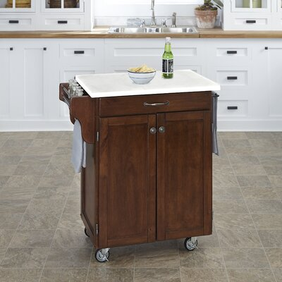 Savorey Kitchen Cart with Quartz Top Base Finish: Cherry
