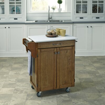 Savorey Kitchen Cart with Quartz Top Base Finish: Oak