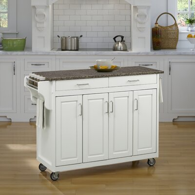 Regiene Kitchen Cart with Quartz Top Base Finish: White