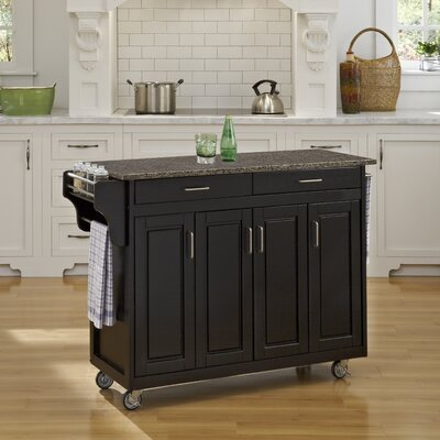 Regiene Kitchen Cart with Quartz Top Base Finish: Black