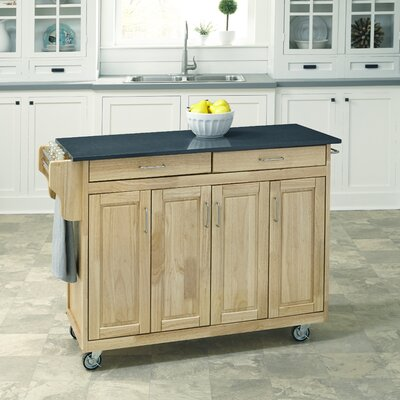 Regiene Kitchen Cart with Quartz Top Base Finish: Natural