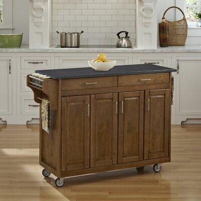 Regiene Kitchen Cart with Quartz Top Base Finish: Oak