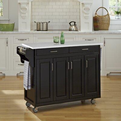 Regiene Kitchen Cart with Quartz Top Base Finish: Black