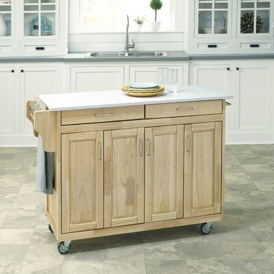 Regiene Kitchen Cart with Quartz Top Base Finish: Natural