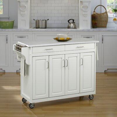 Regiene Kitchen Cart with Quartz Top Base Finish: White