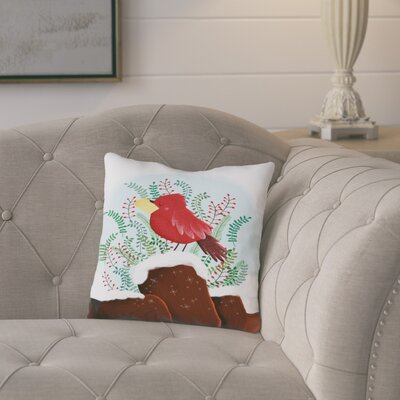 Lotta Christmas Bird Cotton Throw Pillow Size: 14 H x 14 W x 2 D