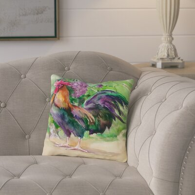 Elaine Rooster and Grapes Throw Pillow Size: 18 H x 18 W x 2 D