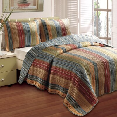 Correen Cotton Reversible Quilt Set Size: King