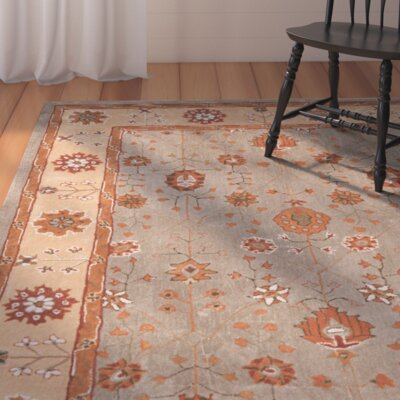 Malveaux Hand-Hooked Orange/Gray Area Rug