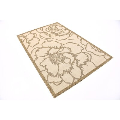 Souliere Beige Outdoor Area Rug Rug Size: 4 x 6
