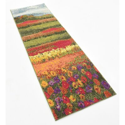 Laurentides Green/Red Area Rug Rug Size: Runner 2 x 65