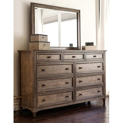 Justin 9 Drawer Double Dresser with Mirror