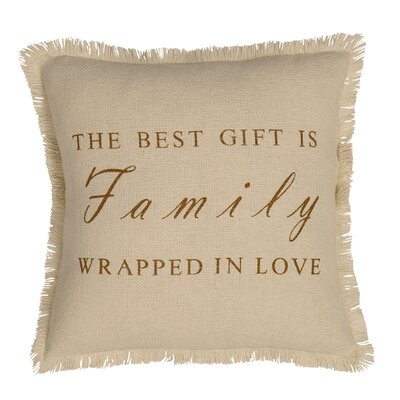 Mats Family Burlap Throw Pillow