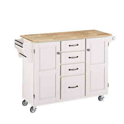 Adelle-a-Cart Kitchen Island with Butcher Block Top Base Finish: White