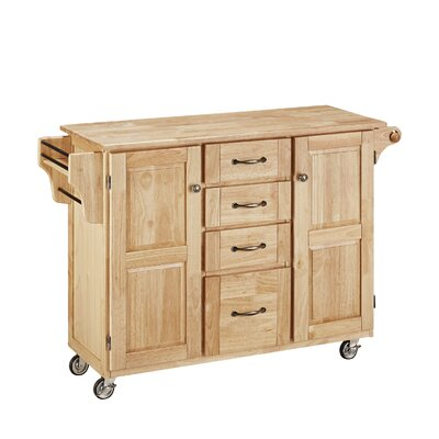 Adelle-a-Cart Kitchen Island with Butcher Block Top Base Finish: Natural