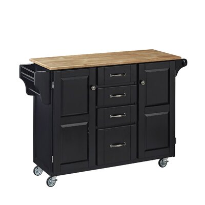 Adelle-a-Cart Kitchen Island with Butcher Block Top Base Finish: Black
