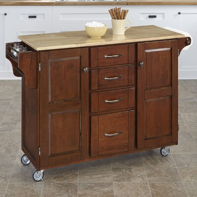 Adelle-a-Cart Kitchen Island with Butcher Block Top Base Finish: Cherry
