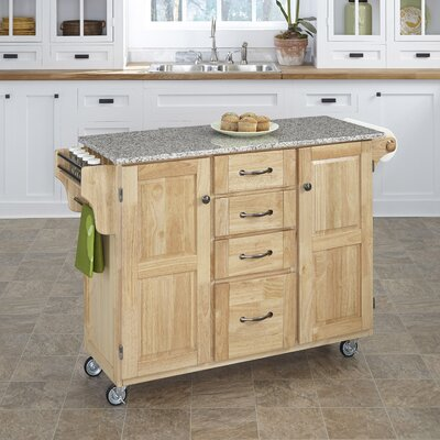 Adelle-a-Cart Kitchen Island with Granite Top Base Finish: Natural