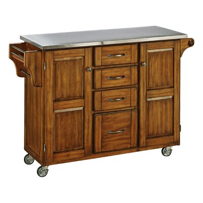 Adelle-a-Cart Kitchen Island with Stainless Steel Top Base Finish: Oak