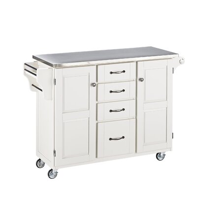 Adelle-a-Cart Kitchen Island with Stainless Steel Top Base Finish: White
