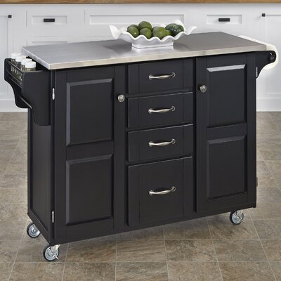 Adelle-a-Cart Kitchen Island with Stainless Steel Top Base Finish: Black