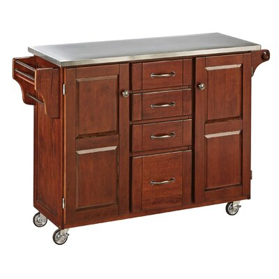 Adelle-a-Cart Kitchen Island with Stainless Steel Top Base Finish: Cherry