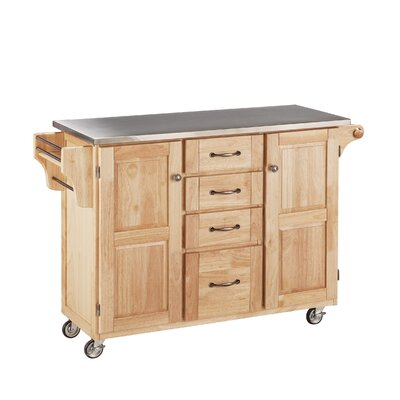 Adelle-a-Cart Kitchen Island with Stainless Steel Top Base Finish: Natural