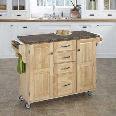 Adelle Kitchen Cart with Quartz Top Base Finish: Natural