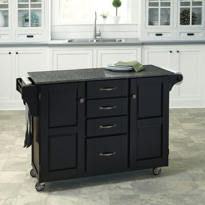 Adelle Kitchen Cart with Quartz Top Base Finish: Black