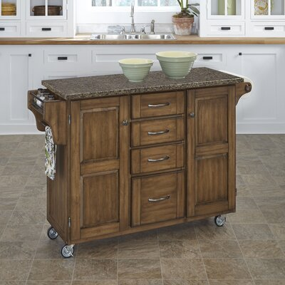 Adelle Kitchen Cart with Quartz Top Base Finish: Oak
