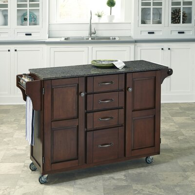 Adelle Kitchen Cart with Quartz Top Base Finish: Cherry
