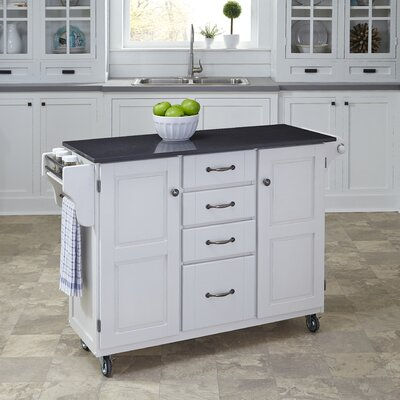 Adelle Kitchen Cart with Quartz Top Base Finish: White