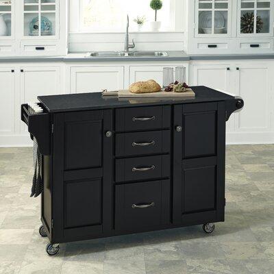 Adelle Kitchen Cart with Quartz Top Base Finish: Black