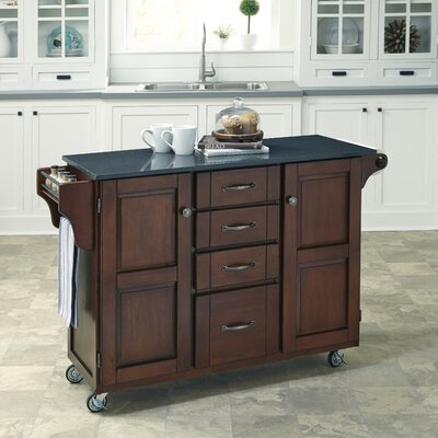 Adelle Kitchen Cart with Quartz Top Base Finish: Cherry