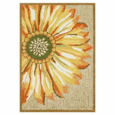 Ismay Gold/Yellow Sunflower Indoor/Outdoor Area Rug Rug Size: 18 x 26